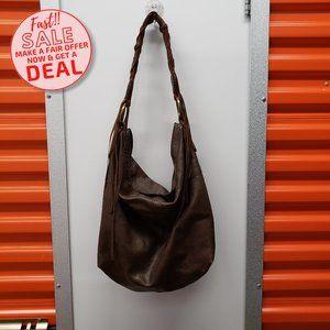VTG Lucky Brand Leather Brown Cross Body Hobo Bag